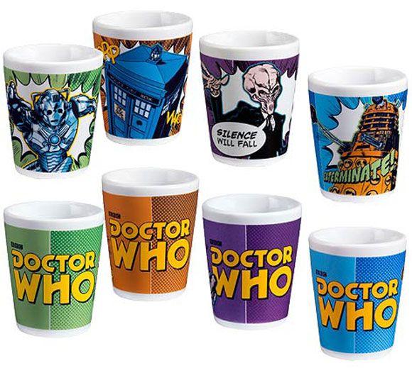 Doctor Who Comic Book Ceramic Mini-Glass 4-Pack