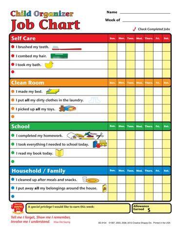 Job Chart - Child Organizer Family Organization Chore chart kids