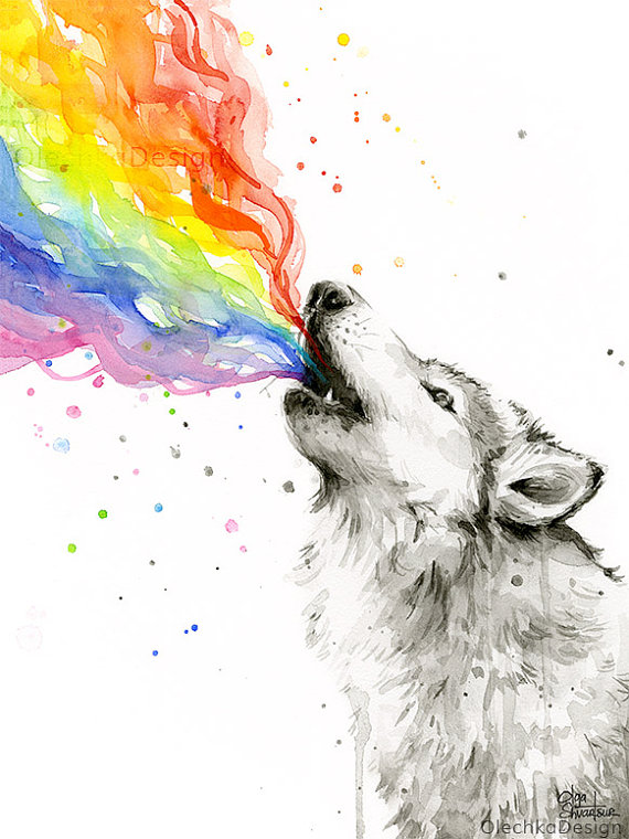 Wolf Watercolor Rainbow Animal Howling Wolf Art Print