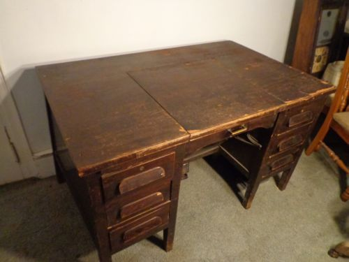 Antiue 1920-1930 Remmington wood Convertible typewriter Desk - Vintage Oak Typewriter Desk #brickandmortarliving - $265
