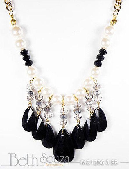 2997f4c7e maxi colar de gotas acrílicas, cristais e perolas. R$89,00 | Bijus ...