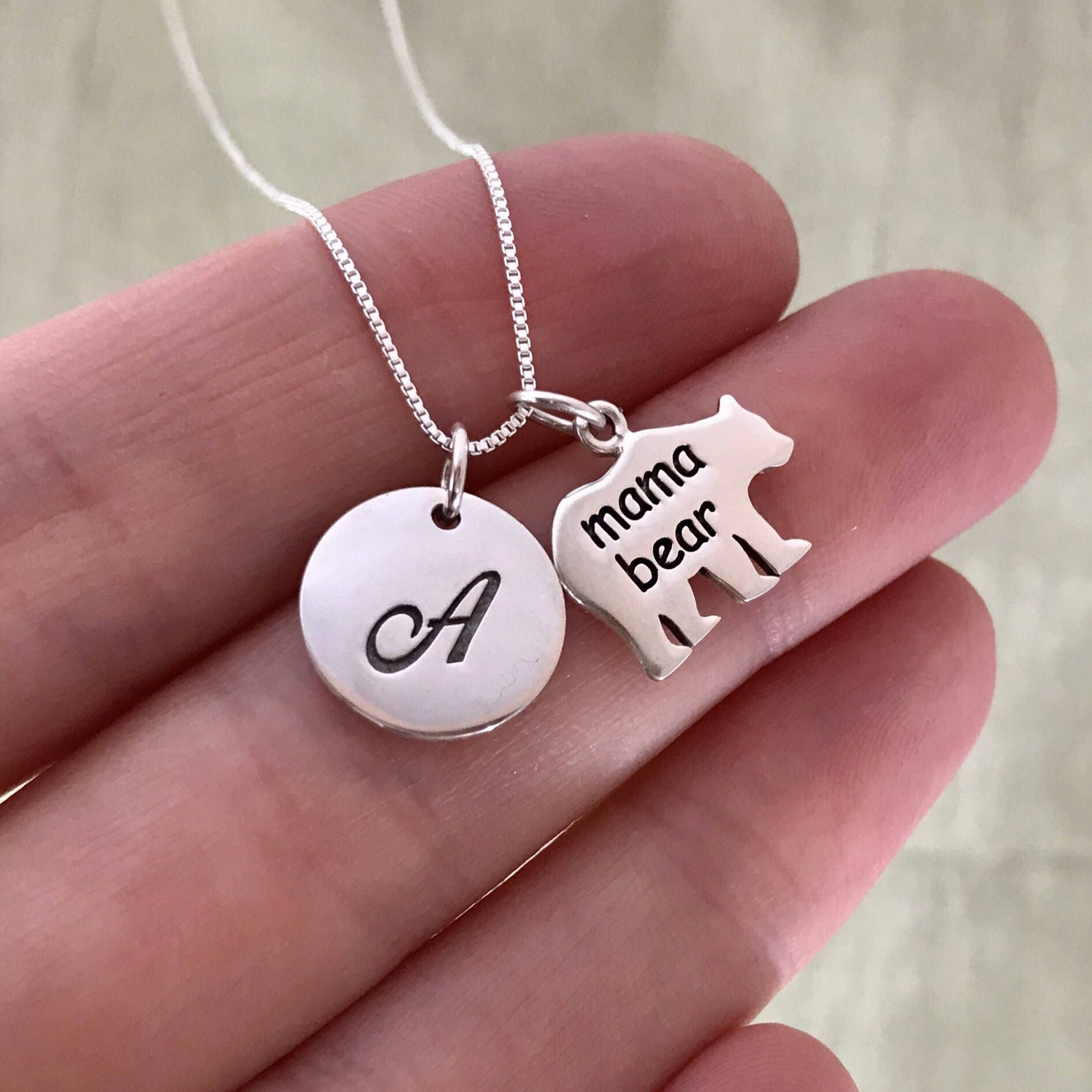 Mama bear necklace mothers day gift for wife new mom