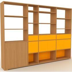 Photo of Wohnwand Eiche – Individuelle Designer-Regalwand: Schubladen in Gelb & Türen in Gelb – Hochwertige M