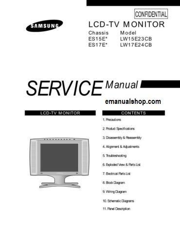 samsung lcd tv monitor lw15e23cb service manual download service rh pinterest com service manual ld-w1 service manual lc-46le830u