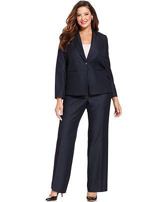 37a8479e6fb8 Tahari by ASL Plus Size Single-Button Navy Pantsuit - Shop All - Plus Sizes  - Macy s