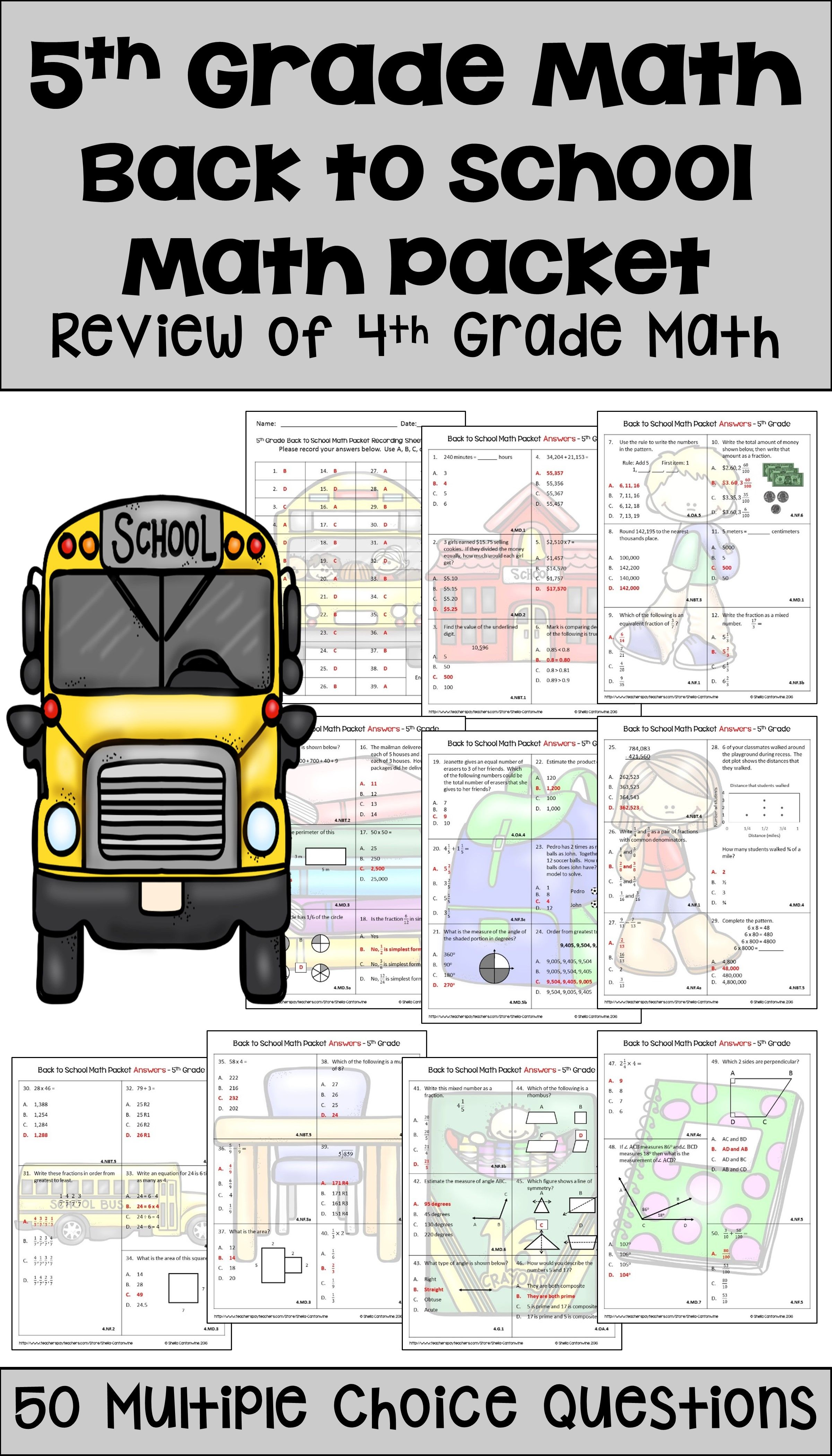 Back To School Math Activities For 5th Grade Math