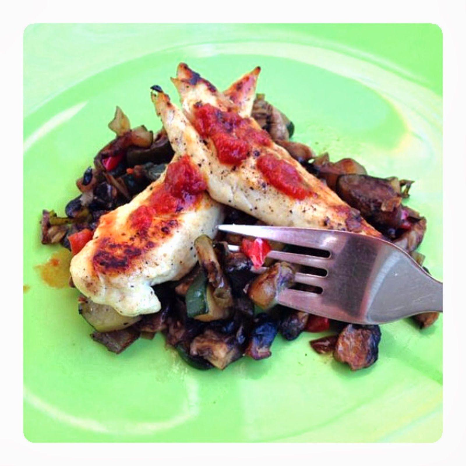 Pechuga de pollo con salsa picante y guarnición de súper verduras - La dieta ALEA - blog de nutrición y dietética, trucos para adelgazar, recetas para adelgazar