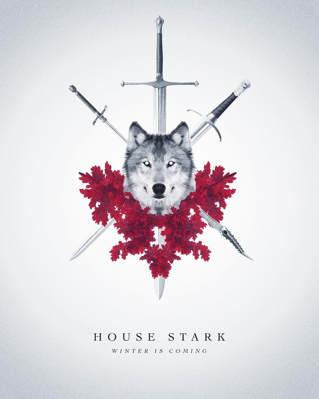 House Stark Poster By Max Beech Creative #direwolf #HouseStark #symbol  #GameofThrones