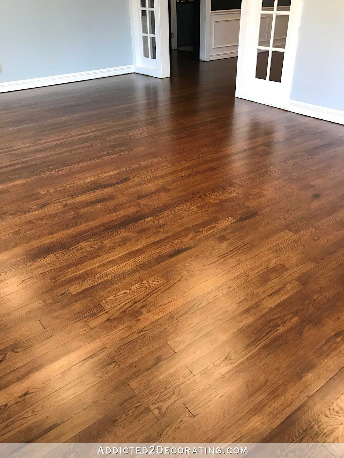 Red Oak Hardwood Floors in 50/50 mix of Minwax Dark Walnut