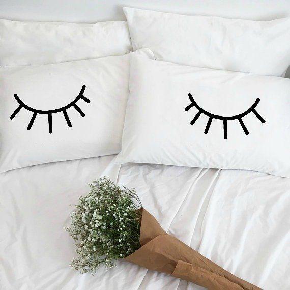 2 Piece Eyelashes Pillowcase Set In 2020 Couple Pillow Couple Pillowcase Cotton Anniversary Gifts