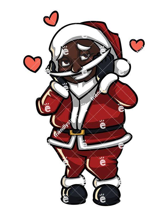Shy Black Santa Claus In Love Cartoon Clipart Vector Friendlystock Cartoon Clip Art Black Santa Santa Claus
