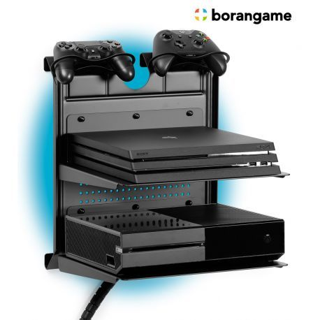 Gameside Bundle Double Shot Game Console Horizontal Wall Mount With Multicolor Led Light Playstation Room Game Console Shelf Video Game Room Design