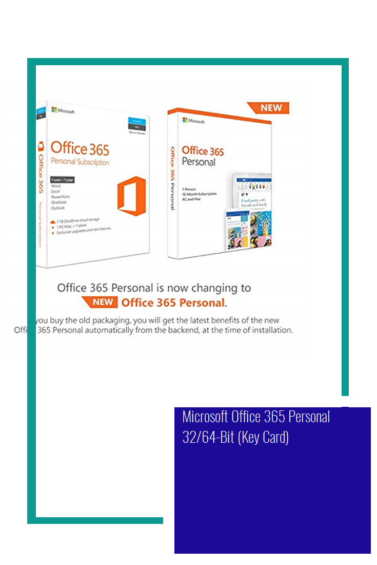Microsoft Office 365 Personal 32 64 Bit Key Card Office 365 Personal Microsoft Office Office 365