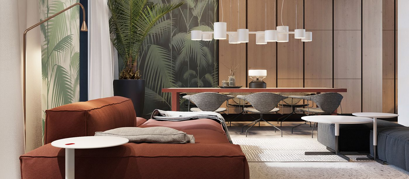 living room showcase designs%0A Warm minimal Kiev Penthouse Living Dining room  S u    T Architects