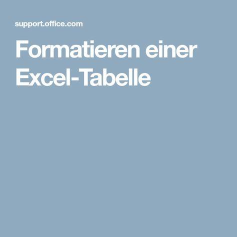Formatieren einer Excel-Tabelle   Formel   Pinterest