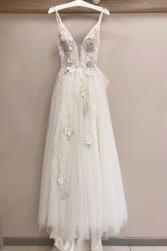 White Tulle V Neck Lace Applique Long Senior Prom Dress, White Wedding Dress #spitzeapplique