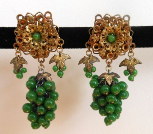 Vintage Green Glass Bead Grape Cluster Clip Earrings | eBay