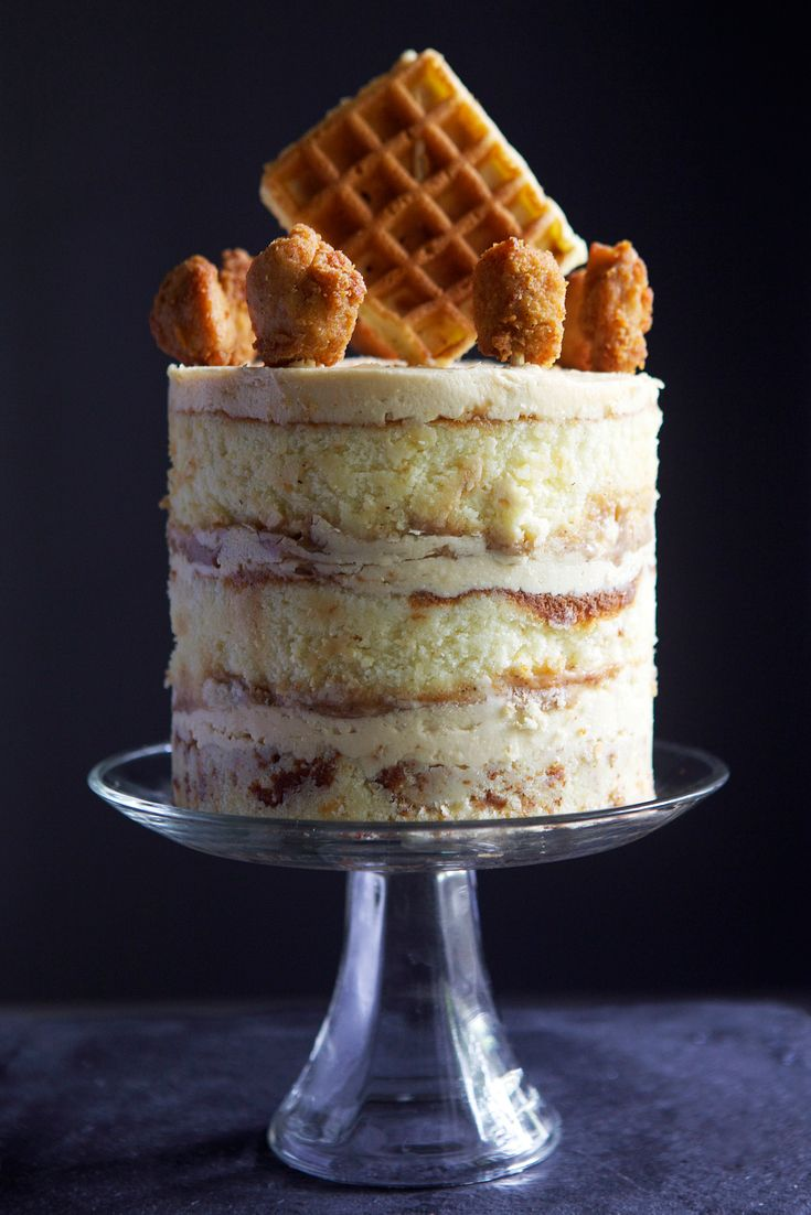 This absolutely insane homemade cake that literally has chicken and waffles bursting out of it will make you want to celebrate every day. Layers of yellow buttercream batter pair perfectly with maple syrup buttercream frosting.