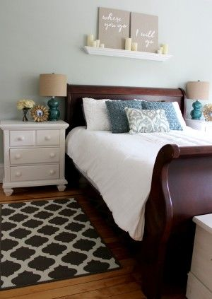 Dark Sleigh Bed With White Nightstands Master Bedroom Makeover Wood Bedroom Furniture Bedroom Makeover