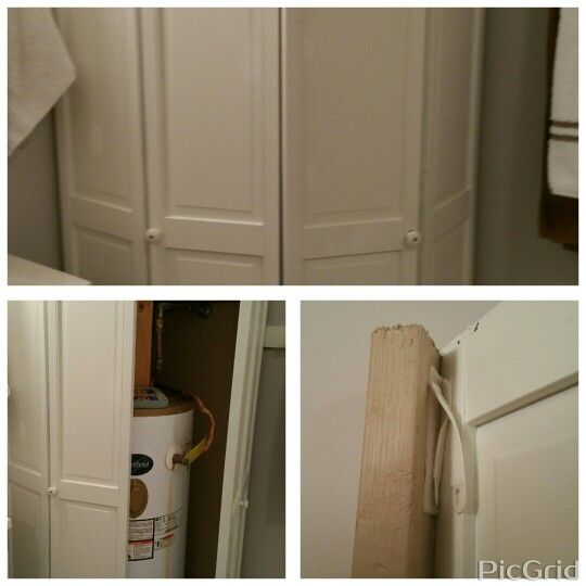 Great Way To Hide A Hot Water Heater Bifold Door Attached By Velcro For Easy Assess Comfy Cozy Home Home Remodeling Diy Bathroom Makeover