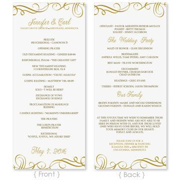 Wedding Program Template - DOWNLOAD INSTANTLY - Edit Yourself - menu template word free
