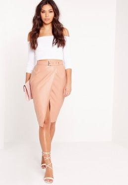 Belted Wrap Faux Leather Midi Skirt Nude | my dream life ...