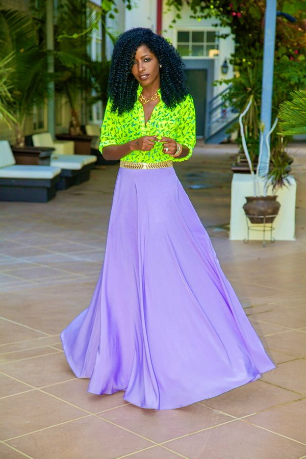 Beautiful lilac maxi skirt paired with a neon blouse | Maxi ...