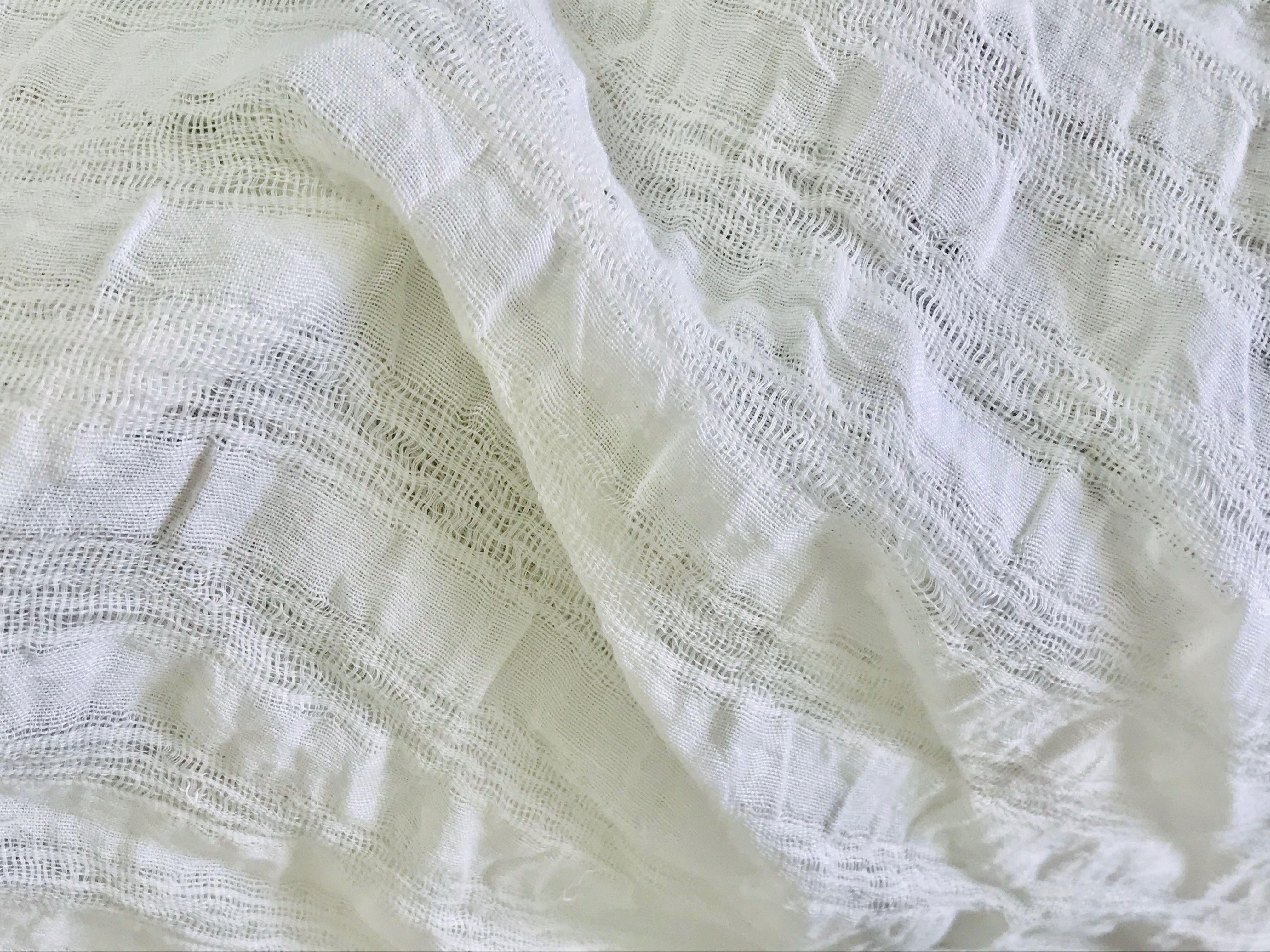 le voile de lin blanc grande largeur