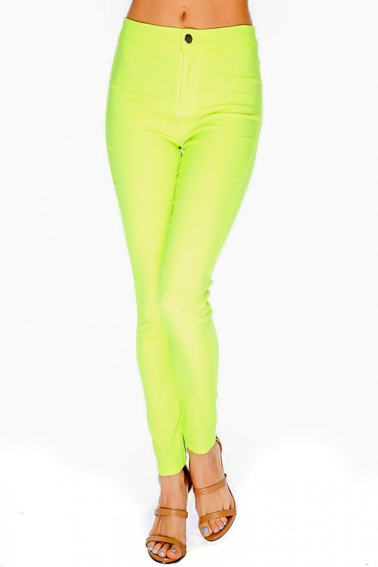 Neon high waisted skinny jeans