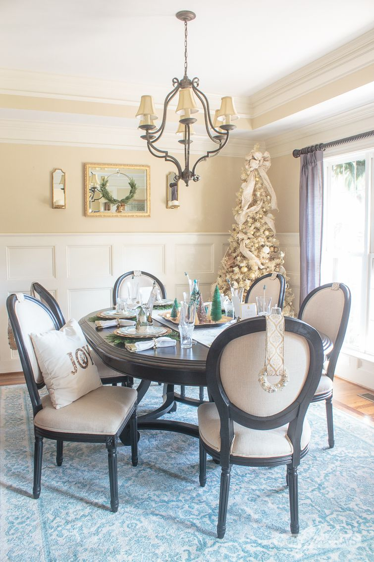 Elegant Gold & Aqua Christmas Dining Room Decor | Classic ...