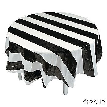 Style With Stripes This Chic Tablecloth Is Perfect For Any Formal Event From Weddin With Images Black And White Party Decorations Black And White Decor White Table Cloth
