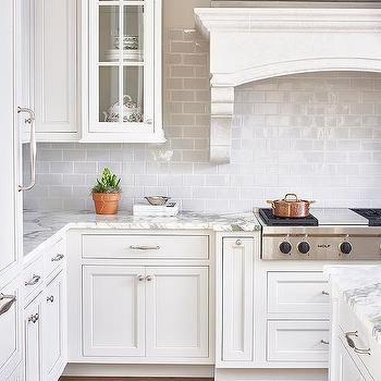 White And Gray Kitchen With Light Gray Mini Subway Tiles White