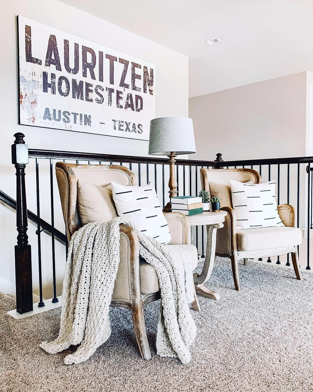 There S A Little Landing Space At The Top Of Our Stairs And It Is The Most Awkward Space To De Stair Landing Decor Landing Decor Loft Decorating Ideas Upstairs