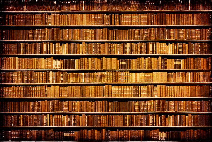 Böcker grunge tapet | fototapet | Bibliotek | bokhylla | Wallooba