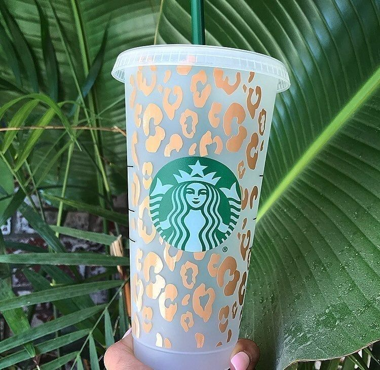 Starbucks Tumbler Cheetah Print Design Vinyl Decal Sticker With Name On Back Listing Is For 1 Personalized Starbucks Cup Starbucks Diy Custom Starbucks Cup