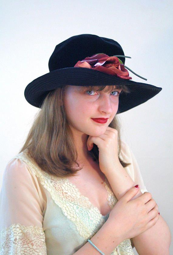 40s Black Velvet Hat with Rose de3e28a94b5