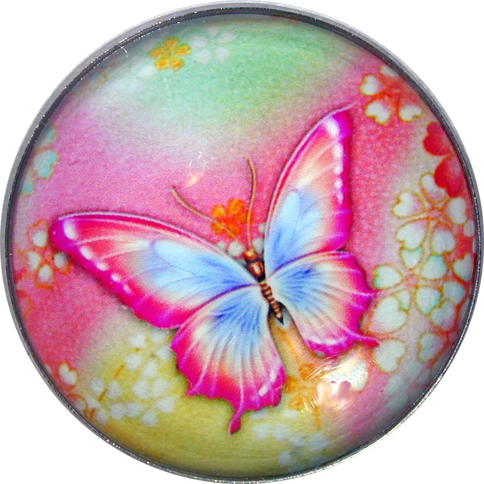 """Beautiful Crystal Dome Button Butterfly Pink Blue /& Green Lg Size 1 /& 3//8/"""" B 37"""