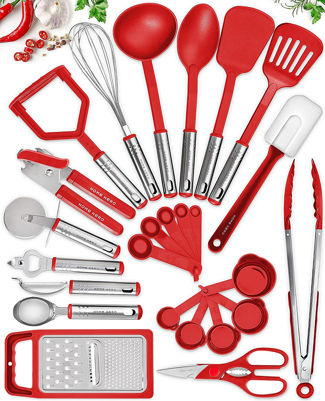 25 Kitchen Utensil Set Home Hero - Nylon Cooking Utensils - Kitchen Utensils with Spatula - Kitchen Gadgets Cookware Set - Kitchen Tool Set - Red