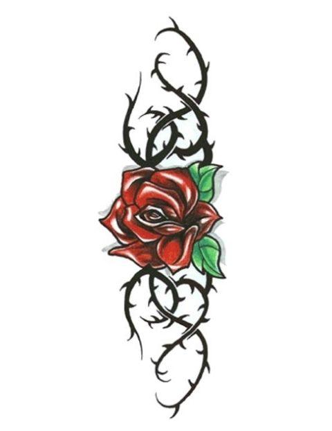 Black rose vine tattoos