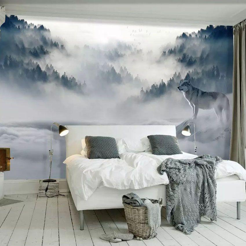 Goedkope Aangepaste Mural Behang 3D Mountain Fog Bos Wolf Dier ...