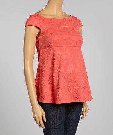 Loving this Coral Floral Maternity Cap-Sleeve Top on #zulily! #zulilyfinds