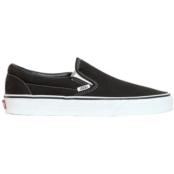 Vans Women Classic Slip-on Canvas Sneakers ($62) ❤ liked on Polyvore featuring shoes, sneakers, vans, black, black slip-on shoes, slip-on shoes, black trainers, canvas sneakers and vans trainers