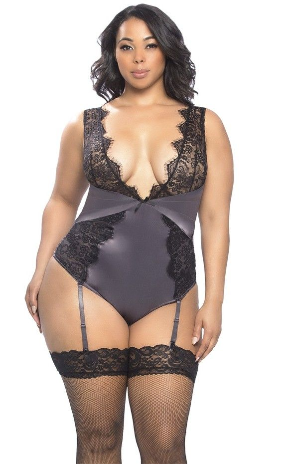 50c9d9e5f0f Arabella Eyelash Lace   Satin Teddy Plus Size. Show off sexy curves with  Arabella Lace   Satin Teddy. Eyelash lace plunge neckline teddy with lace  shoulders ...