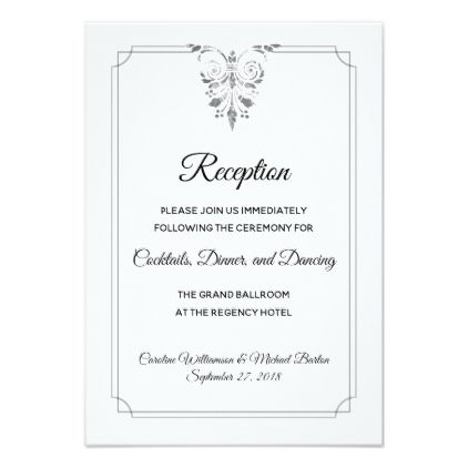 Elegant Traditional Formal Wedding Reception Card Traditional