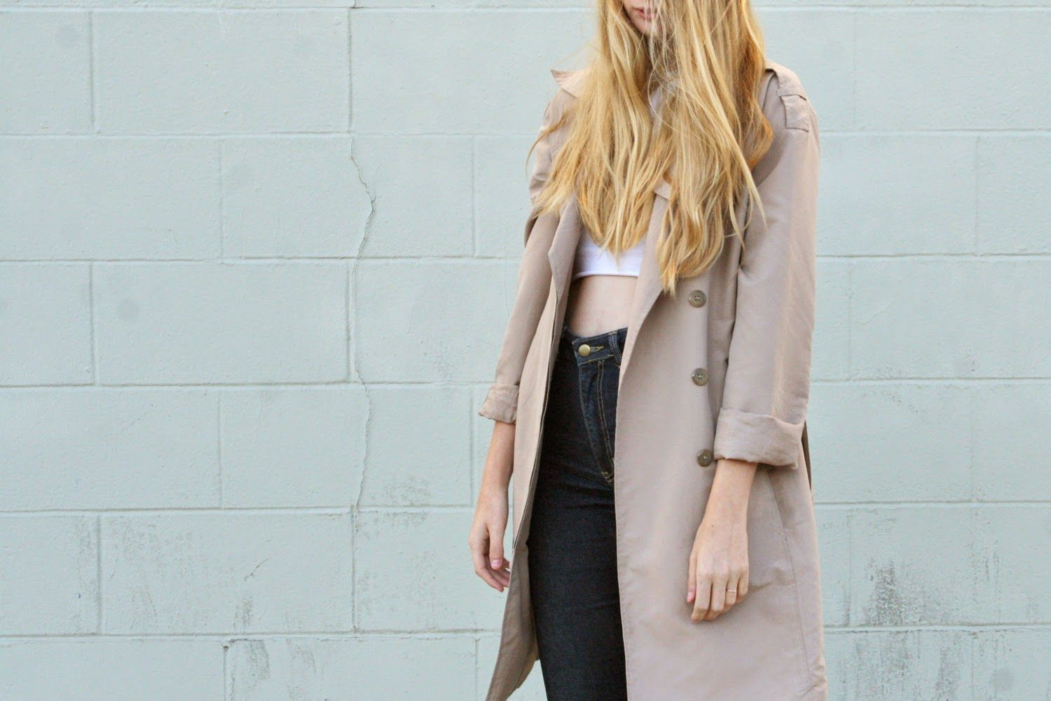 thetimeisgrey in vintage trench, crop top and denim #style #fall