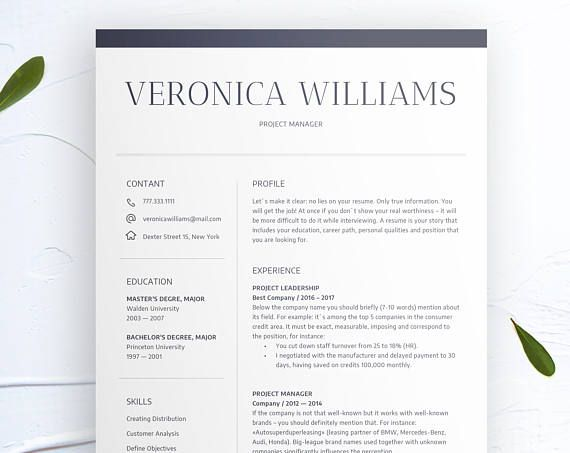 Modern Resume Template CV Template + Cover Letter Professional and
