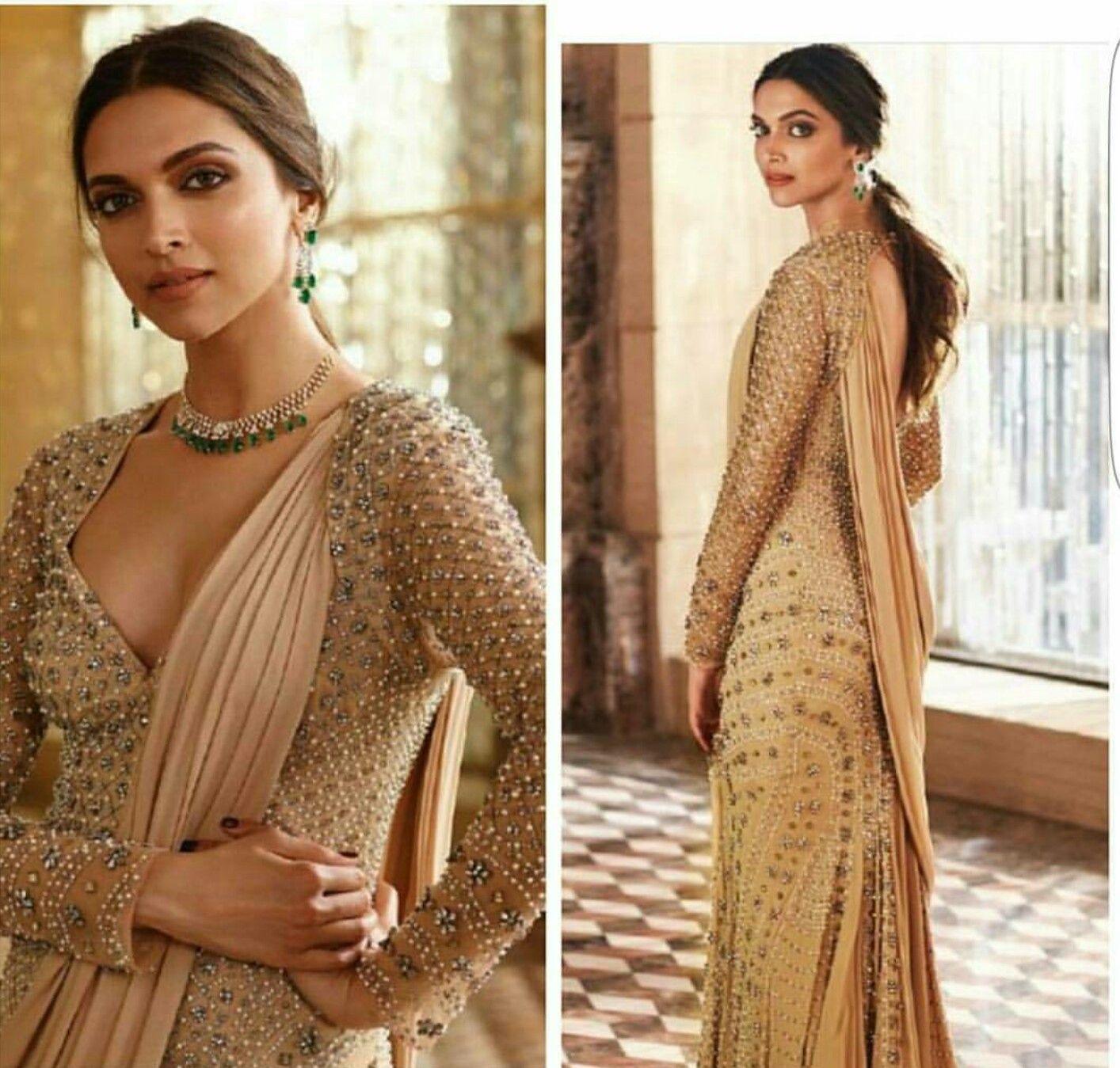 Deepika padukone wearing golden embroidered dress for an ...