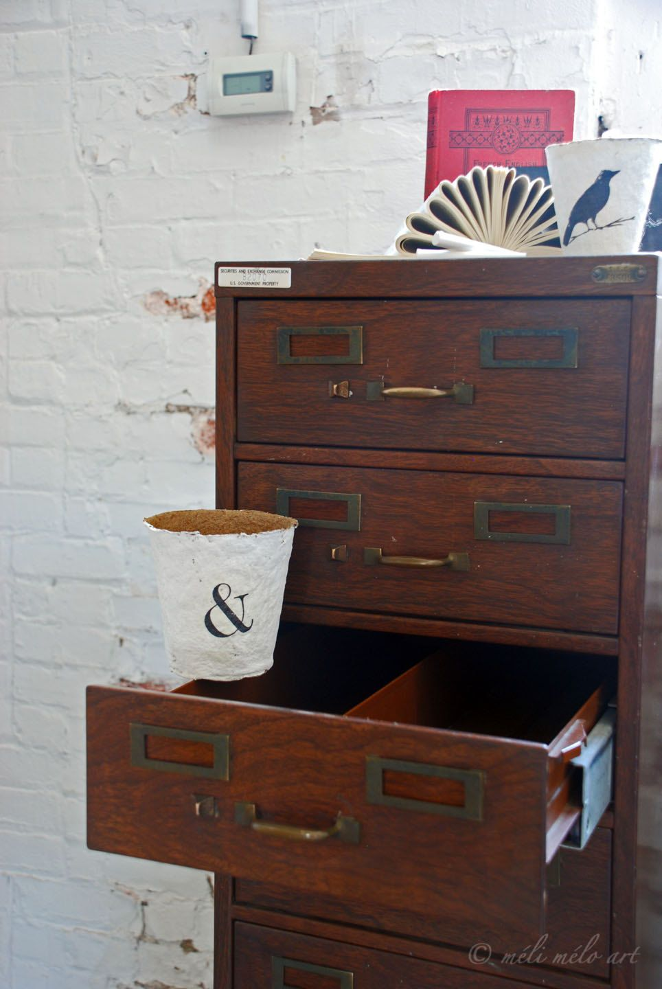 Index Card File Cabinet Metal Wood Grain 10 Drawers Price Reduced 225 00 Usd By Edis