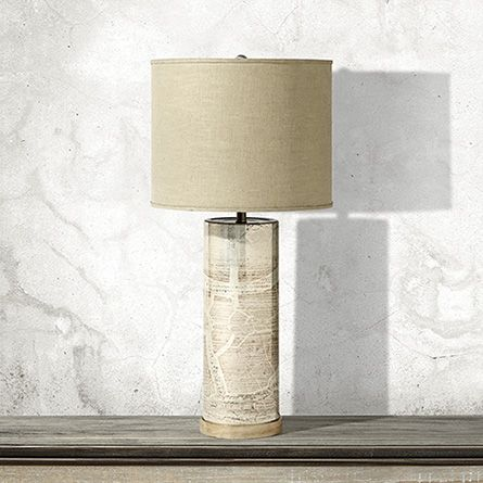 Orion column glass table lamp with natural shade arhaus furniture