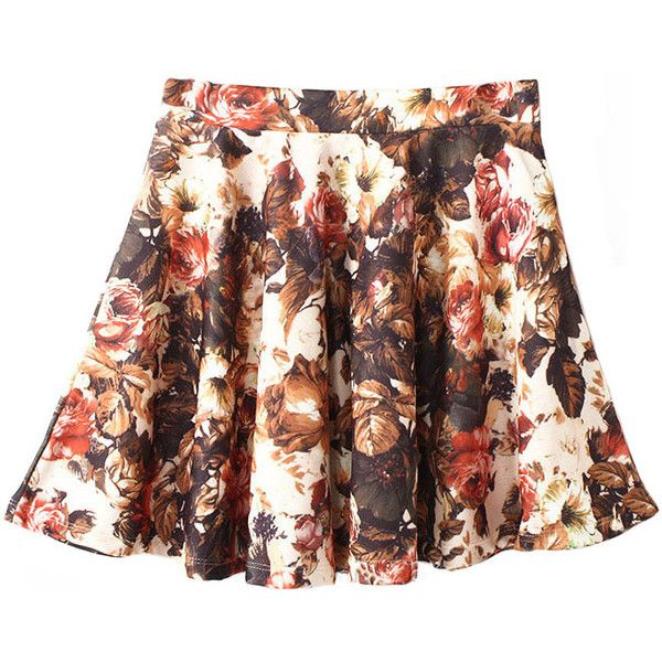 Chicnova Fashion Floral Printed High Waist Wavy Edges Skirt (21 CAD) ❤ liked on Polyvore featuring skirts, chicnova, clothes - skirts, high-waisted skirts, high waisted knee length skirt, brown high waisted skirt, high waisted skirts and floral cotton skirt